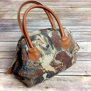 VTG • Dog Themed Tapestry Handbag